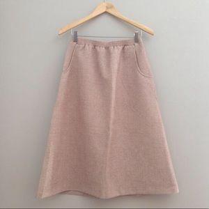 70s Vintage Oatmeal Elastic Waist Skirt w Pockets